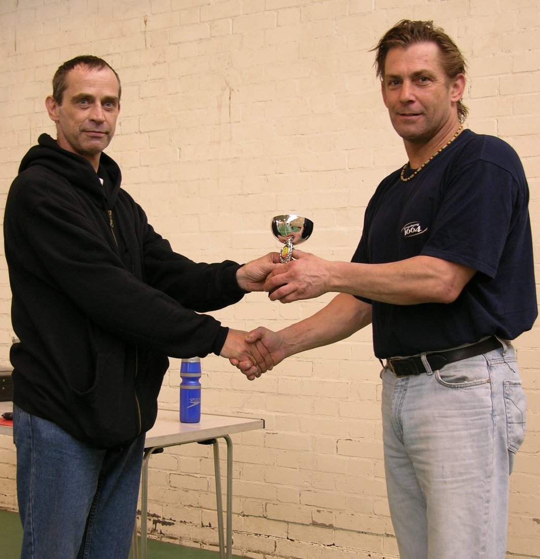 Jim Amberton presenting Tony Woodall with his trophy