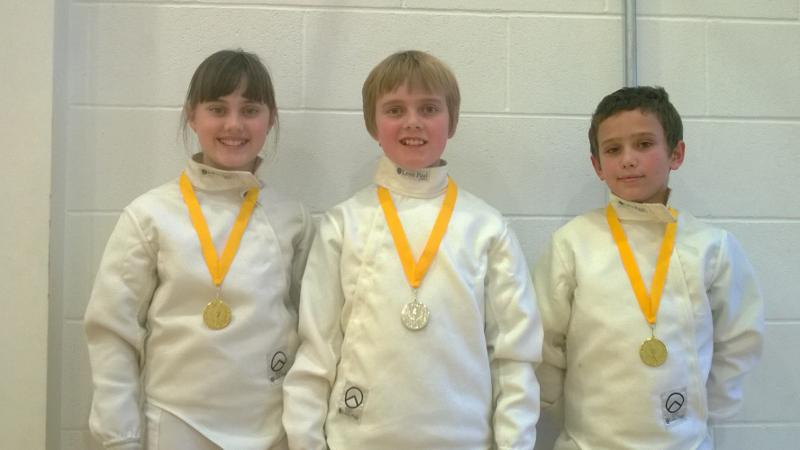 Niamh Noble (Under 13 Girls' Epee) and William Atkinson (Under 9 Boys' Epee). Fin Noble